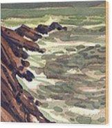 Pescadero Rocks Wood Print