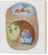 Peter Rabbit And His Dream Wood Print