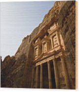 Petra Treasury At Morning Wood Print