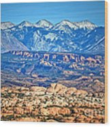 Petrified Dunes And La Sal Mountains Wood Print