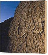 Petroglyphs Are Seen At Twilight Wood Print