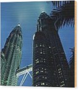Petronas, Twin Towers At Night, Low Wood Print