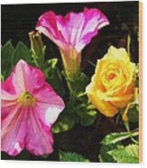Petunias With A Rosy Neighbor Wood Print