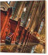 Pews Wood Print by Bradley  Blackburn