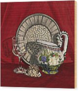 Pewter Dish With Red Cloth. Wood Print by Raffaella Lunelli
