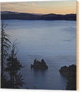 Phantom Ship Sunrise At Crater Lake Wood Print