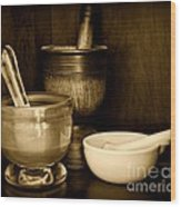 Pharmacy - Mortars And Pestles - Black And White Wood Print