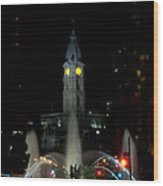 Philadelphia City Hall And Swann Fountain At Night Wood Print