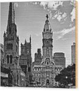 Philadelphia City Hall Bw Wood Print