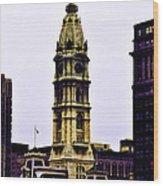 Philadelphia City Hall Tower Wood Print