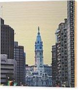 Philadelphia Cityhall At Dawn Wood Print