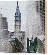Philadelphia Fountain Wood Print