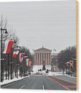 Philadelphia Parkway In The Snow Wood Print