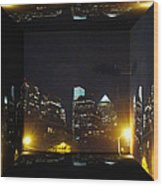 Philadelphia Skyline At Night - Mirror Box Wood Print