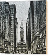 Philly - Broad Street Wood Print