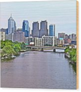 Philly By Water Wood Print