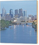 Philly In Blue Wood Print