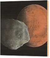 Phobos And Mars, Artwork Wood Print by Richard Bizley
