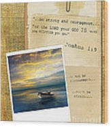 Photo Of Boat On The Sea With Bible Verse Wood Print
