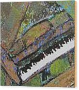Piano Aqua Wall - Cropped Wood Print by Anita Burgermeister