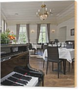 Piano In A Upscale Dining Room Wood Print