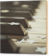 Piano Keys And Stars Wood Print by Photo - Lyn Randle