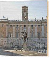 Piazza Del Campidoglio. Capitoline Hill. Rom Wood Print by Bernard Jaubert