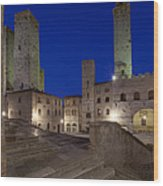 Piazza Duomo At Dusk Wood Print