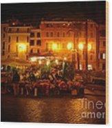 Piazza Flower Vendor Wood Print