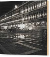 Piazza San Marco At Night Venice Wood Print