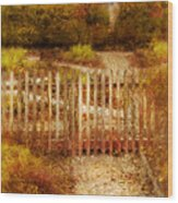 Picket Fence And Cottage Wood Print