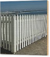 Picket Fence By The Cabrillo National Monument Lighthouse In San Diego Wood Print