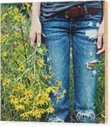 Picking Flowers Wood Print by Kim Fearheiley