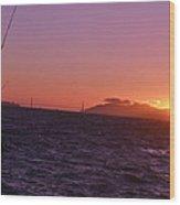 Picking Through The Bridge Sunset Wood Print