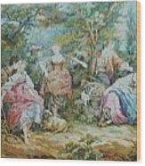 Picnic In France Tapestry Wood Print by Unique Consignment