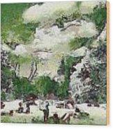 Picnic In Park Wood Print