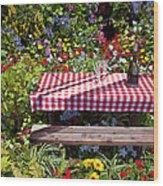 Picnic Table Among The Flowers Wood Print
