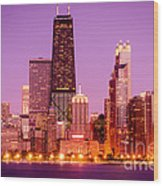 Picture Of Chicago Skyline By Night Wood Print