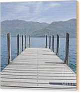 Pier And Snow-capped Mountain Wood Print