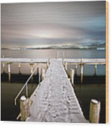 Pier At Night Wood Print by daitoZen