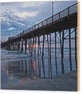 Pier At Sundown Wood Print