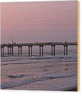 Pier At Sunrise Wood Print