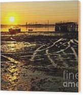 Pier At Sunset Wood Print by Carlos Caetano