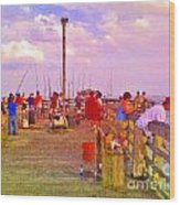 Pier Fishing Wood Print