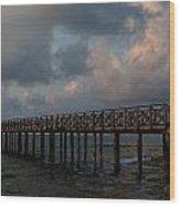 Pier Into Dawn Wood Print