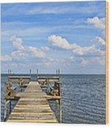 Pier On Lake Yale Wood Print