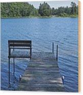 Pier On The Lake Wood Print