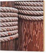 Pier Ropes Wood Print