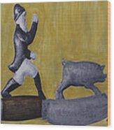 Pig Chasing Wood Print