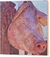 Pig In The Market Wood Print